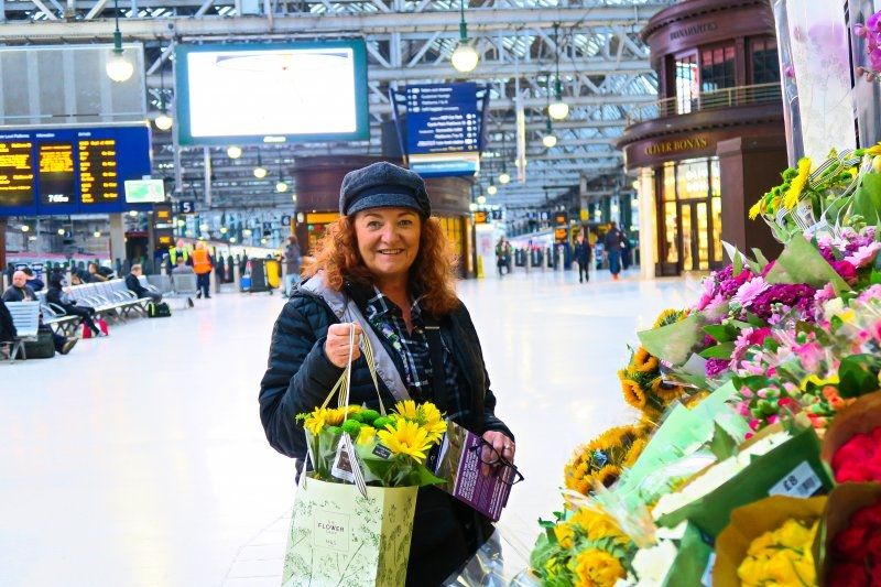 Janet at Central Train Station, Glasgow, Scotland