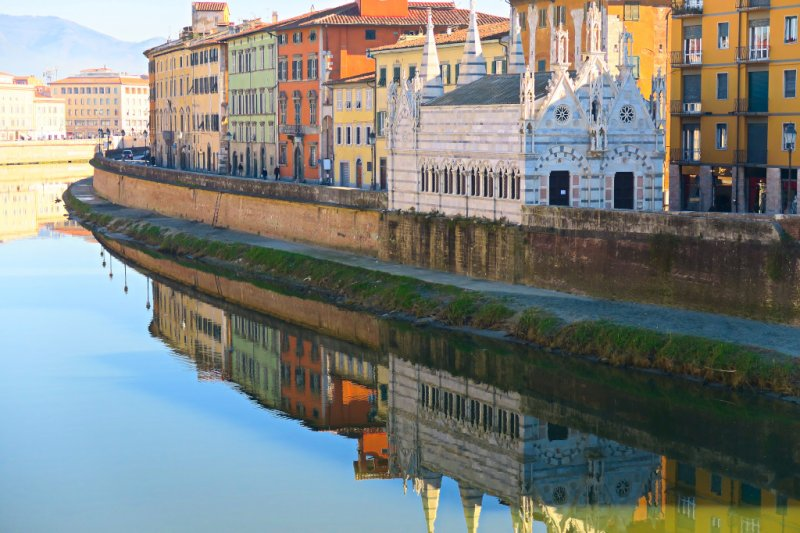 Pisa along the Arno, Italy
