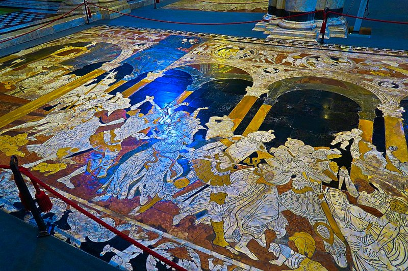 Floor Mosaics in the Cathedral of Siena, Italy